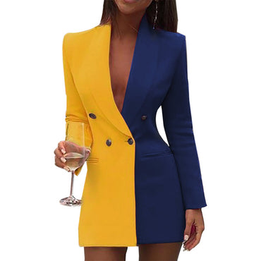 Long Sleeve Blazer Sexy Deep V Neck Button Design Casual Mini Dress
