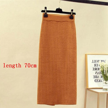 Elastic Waist Warm Knitted Straight Slim Elegant Black Pencil Skirts