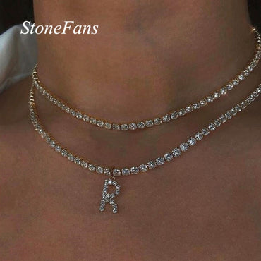 Bling Rhinestone Letter Silver Chain Pendant Necklace Jewelry