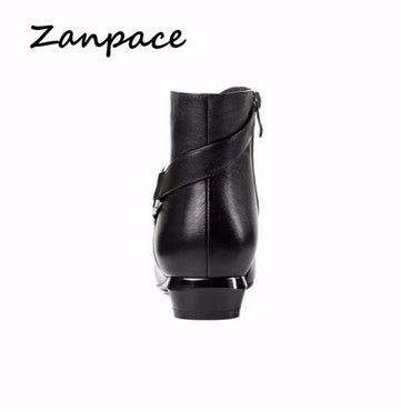 Zipper Retro Leather Shoes Pointed Toe Thick Heel Ankle Boots