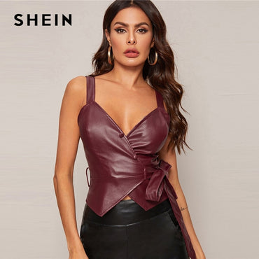 Burgundy Surplice Wrap Knot Side PU Leather Sexy Tank Tops