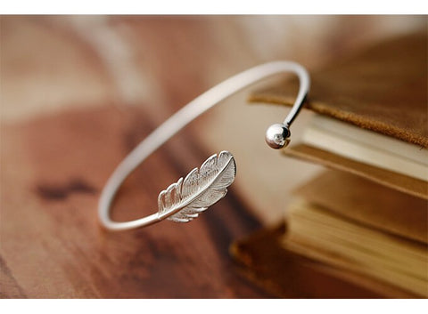 OBEAR Simple Feather Adjustable Opening Bracelets & Bangles Fashion Silver Plated  Jewelry for Women Bracelet