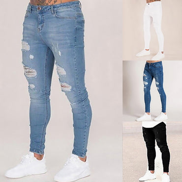 Denim Casual Skinny Distressed Jeans Hip Hop Ripped Trouser