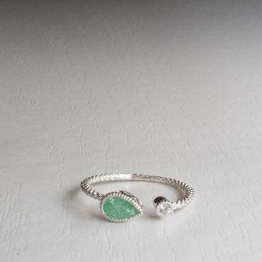 Dainty Silver Color Golden Pear Shape Green Stone Open Ring