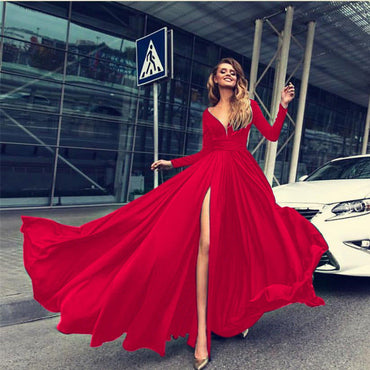 Deep V Dress Solid Color Ladies Long Dresses