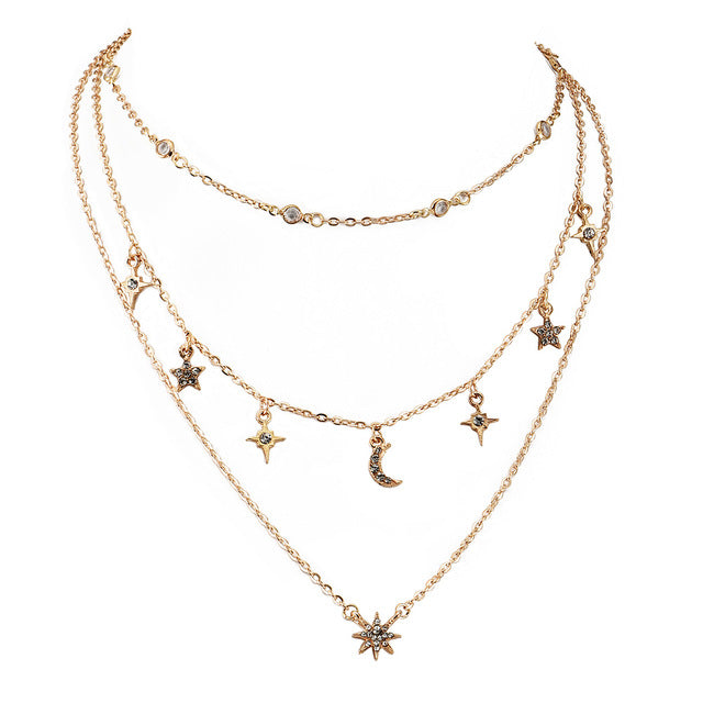 Fashion Multilayer Statement Choker Gold Chain Necklace
