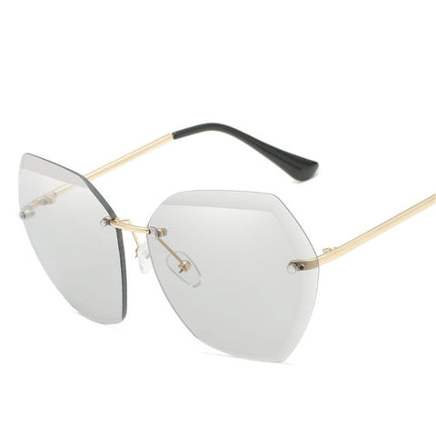 Oversized Rimless Sunglasses Square Metal Frame Clear Lens