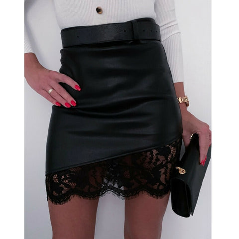 A-Line Short Skirt High Waist PU Leather Floral Zipper Mini Pencil Skirts
