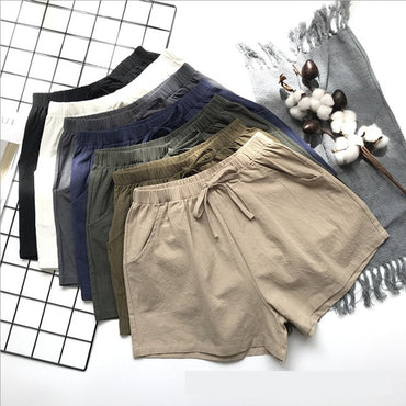 Flax Shorts Cotton and linen Trousers High Waist Lady's