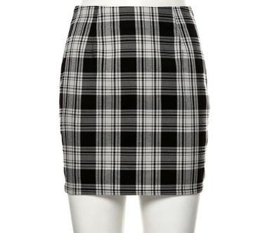 Vintage Black Plaid Mini High Waist Mini Skirt