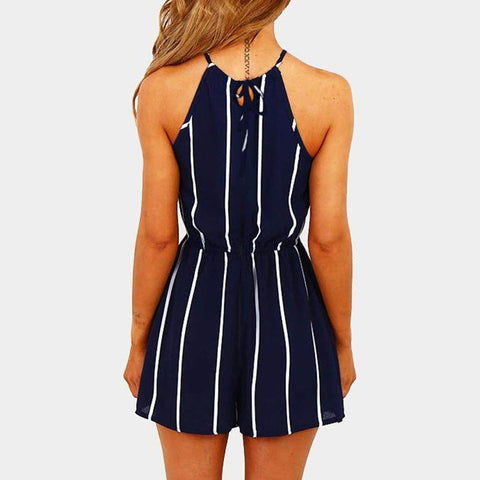 Romper Stripe Printing Off Shoulder Sleeveless Rompers
