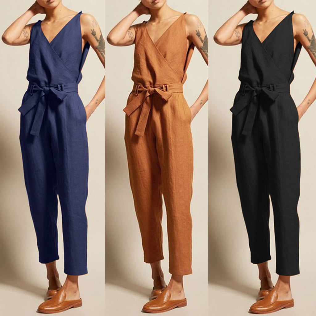 Overall Casual Rompers Sleeveless V-Neck Belt Slim Plus Size Jumpsuit