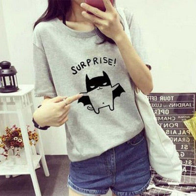 Letters print Loose Short-sleeved cheap T-shirt