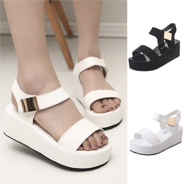 Fashion Shoes Solid Peep Toe Casual Wedge Platform Flat Sandals