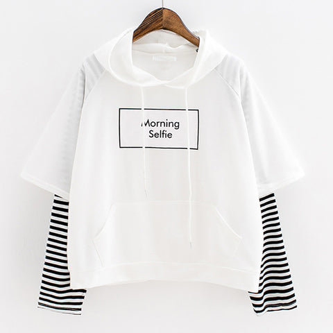Hoodies Morning Selfie Moletom Striped Patchwork Hoodies Sweatshirts
