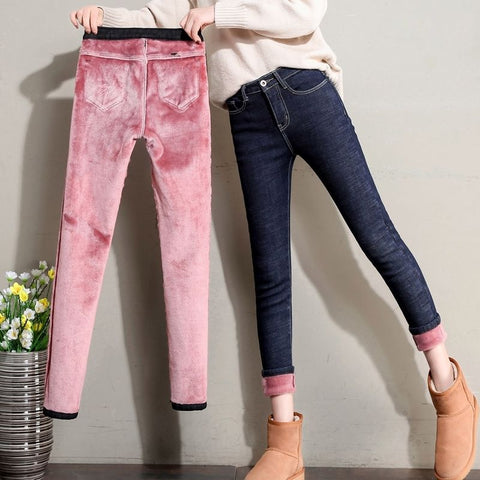 Warm Skinny Pencil Jeans Thick Velvet Warm Leggings Stretch Jeans