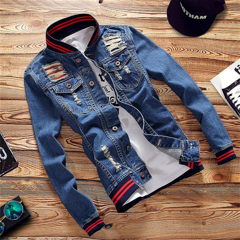 Pilot Denim Casual Fashion Bomber Baseball Jackets