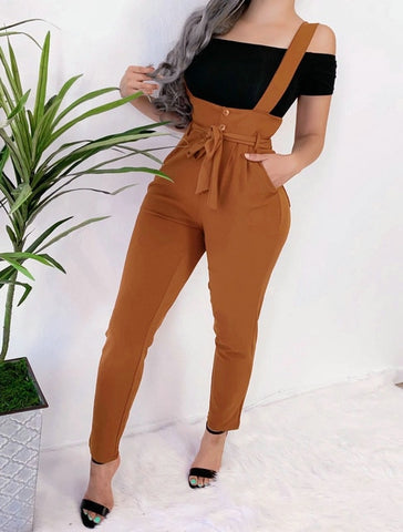 Brand New Jumpsuits High Waist Bib Dungarees Button Casual Slim Fit Solid
