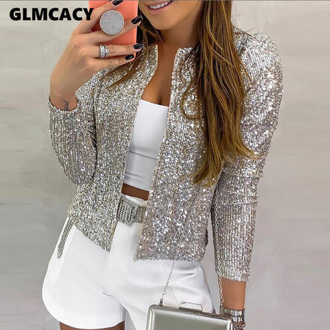 Jacket Sequined Bling Bling Glitter Coat Female Tops