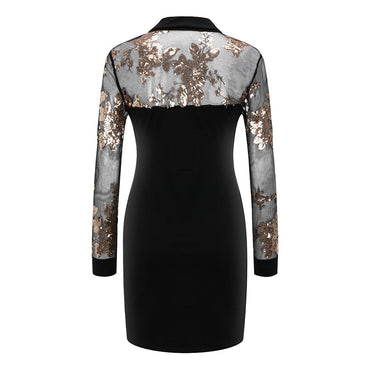 Black Mesh Long Sleeve Bodycon Elegant Turn Collar Dress