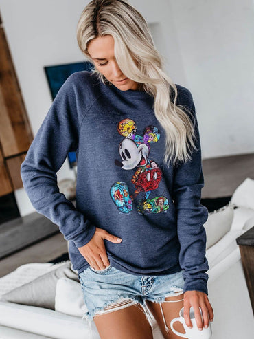 Mouse Hoodie Cartoon Print Pullovers Clothes Sweatshirt