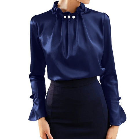 Satin Office Blusas Celmia Solid Silk Long Flare Sleeve Blouse