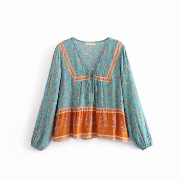 floral printed Tassel deep v-neck Boho blouse shirt