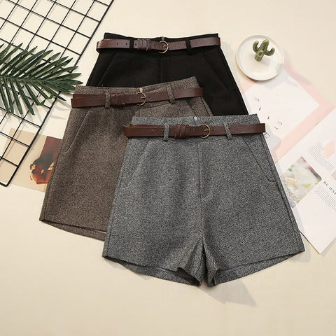 Classic Wool Winter Shorts Solid High Waist Shorts Plus Size