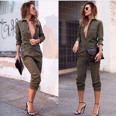 Slim Evening Party Playsuit Ladies Romper Long Jumpsuit