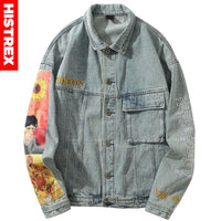Hip Hop Denim Jackets Streetwear Vincent Van Gogh Embroidery