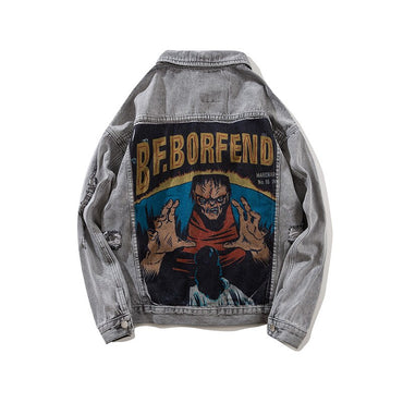 Streetwear Character Demon Printed Denim Jacket Hole Black Hip Hop