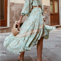 Vintage Chic fashion beach Bohemian floral print Boho Skirt