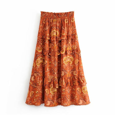 Vintage chic fashion Hippie beach Bohemian floral Boho Skirt