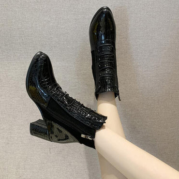 Fashion High-heeled Snakeskin Pattern PU Boots