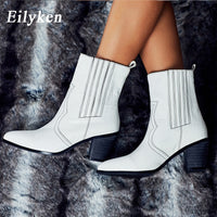 White Colors PU Leather Cowboy Ankle High Heel Booties