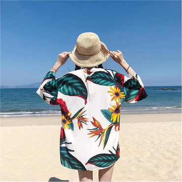 Printing Loose Casual Coat Sunscreen Clothing Boho Vacation