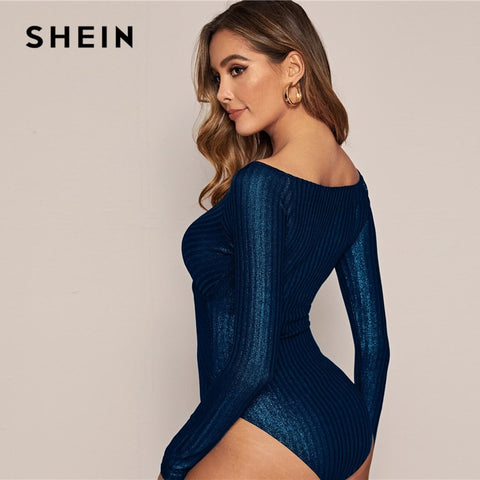 Navy Cross Wrap Front Glitter Bodysuit Stretchy Long Sleeve
