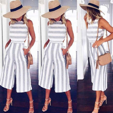 Sleeveless Striped Jumpsuit Casual Loose Trousers Fashionable