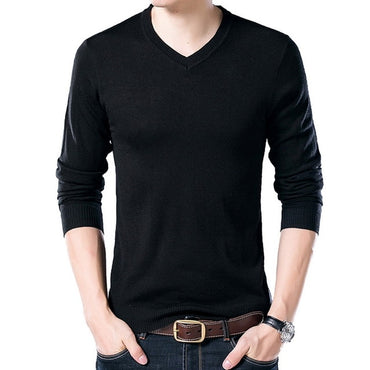 Casual V-Neck Pullover Slim Fit Long Sleeve Shirt Sweaters