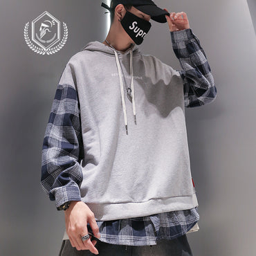 Fashion Loose Plaid Print Casual Patchwork Pullover Hip Hop Sweatshirts