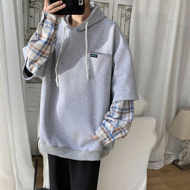 New Handsome Wild Comfortable Two-piece Hooded Plaid Sweatshirt