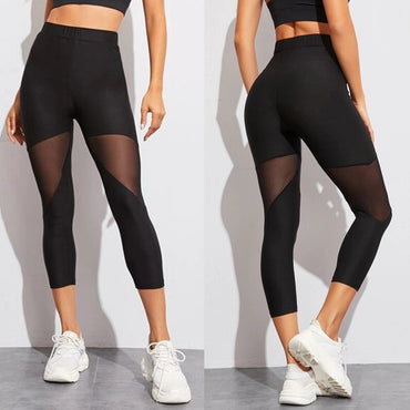 Mesh Patchwork Sport Leggings High Waist Pants Solid Sports