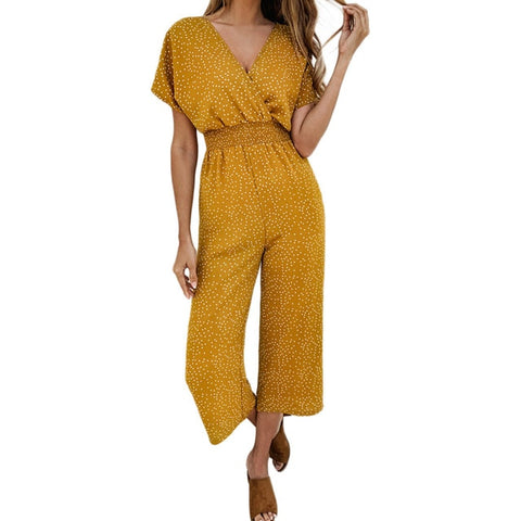 new wave point sexy deep V-neck print high waist loose wide leg jumpsuit