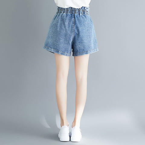 Streetwear Cotton Denim Elastic High Waist Wide Leg Shorts