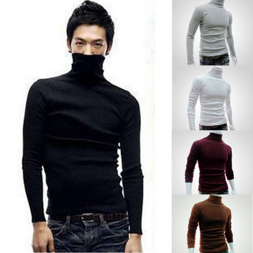 Slim Warm Cotton Turnleneck Pullover Solid Color Jumper Sweater