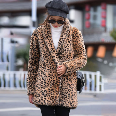 Boho Office Lady Casual Plus Size Coats Loose Leopard
