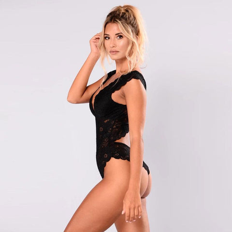 Sexy Lace Hollow Bodysuit Lingerie Nightwear