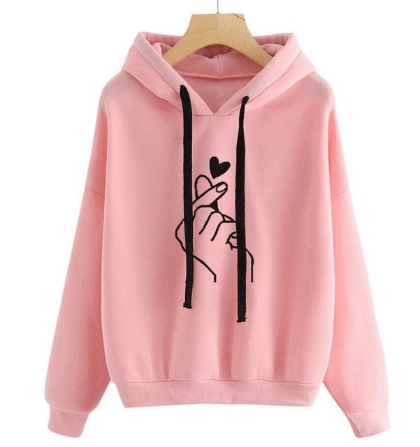 Heart Corduroy Hoodie Sweatshirt Couples Lover Matching Sweatshirt Top