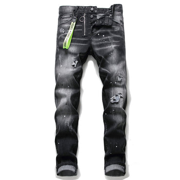 slim jeans pants mens black denim trousers zipper blue
