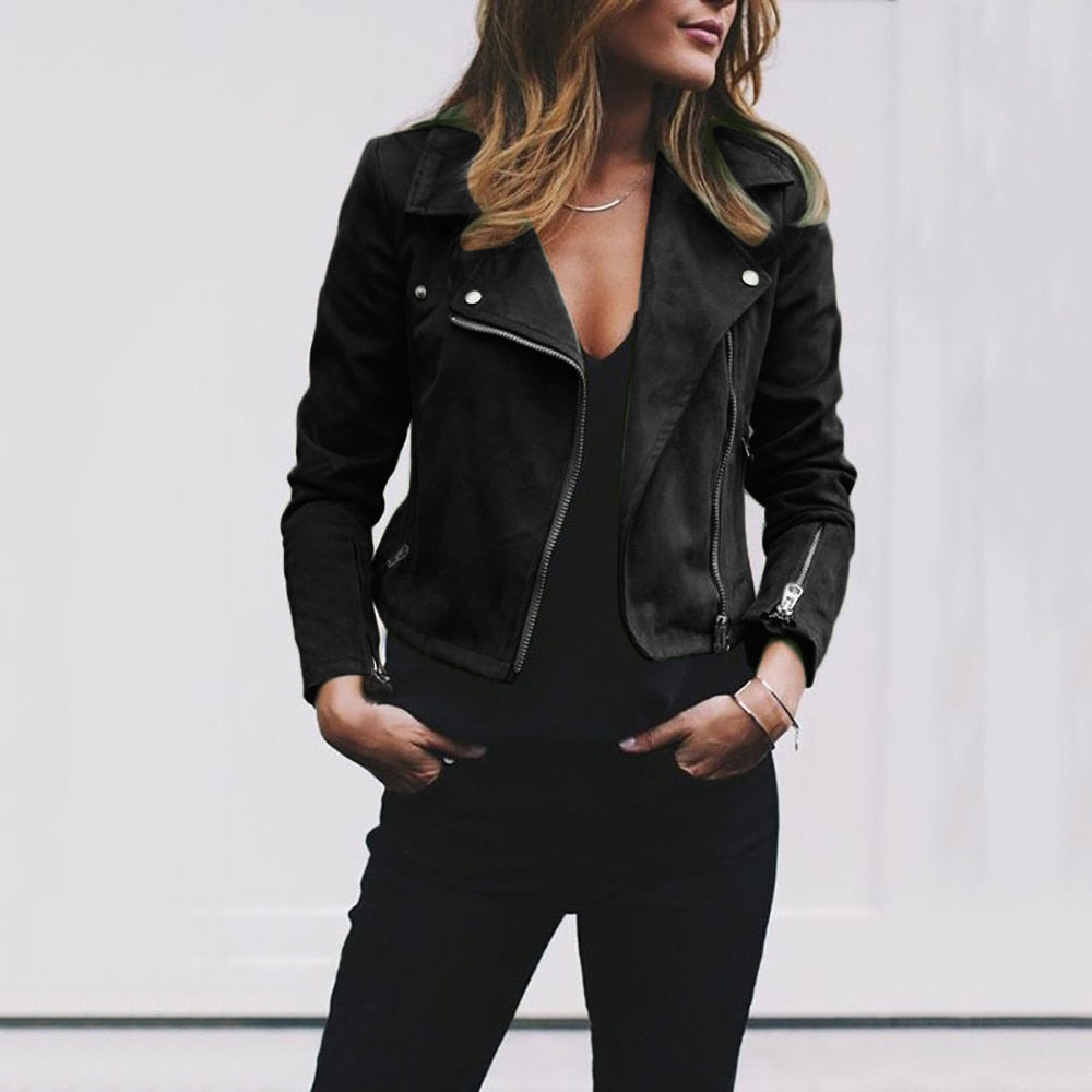 Zipper Basic Coat Turn-down Collar Biker Jacket Fashion